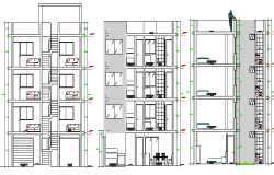 All sided sectional view of multi-family housing apartment dwg file