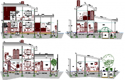 All sided sectional view of one family bungalow dwg file