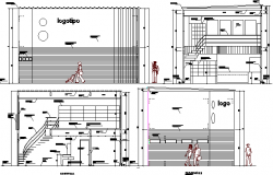 All sided sectional view of video club shop dwg file