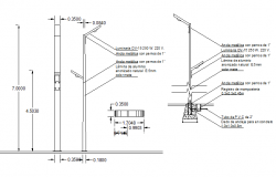 Aluminium light pole installation details dwg file