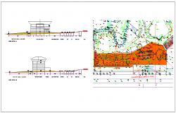 Amazon waterfall theme plan layout and topographic survey dwg file