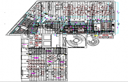 Amplification office architecture layout plan details dwg file