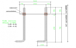 Anchor plate with glazed threaded rod dwg file