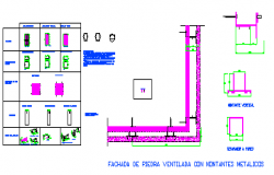 Anchored and dispositions for stone facade ventilated design drawing