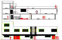 Apartment Building Elevation and Section Plan dwg file
