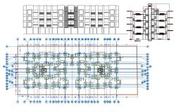 Apartment Foundation plan With Elevation Design AutoCAD file