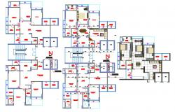 Apartment architecture plan in autocad dwg files