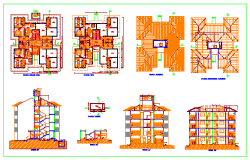 Apartment block building unit design drawing