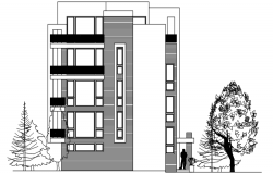 Apartment building design with elevation details in dwg file