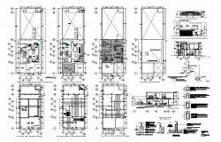 Apartment building detail elevation, plan and section layout autocad file