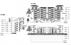 Apartment building facade plan detail dwg file.