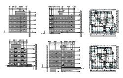 Apartment building multi-level elevation, section and plan cad drawing details dwg file