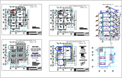 Apartment building plan and elevation with office view dwg file