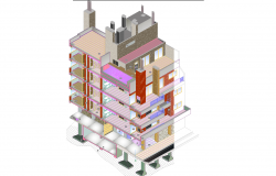 Apartment building plan plan detail dwg file.