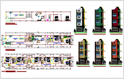 Apartment design view with floor plan and elevation view dwg file