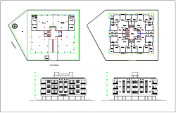 Apartment design view with plan and elevation view dwg file