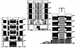 Apartment drawing with elevation and section in dwg file