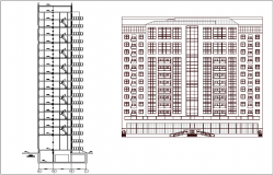 Apartment elevation and section view dwg file
