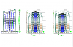 Apartment elevation with floor level dwg file