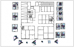Apartment flat building stair section and plan view detail dwg file