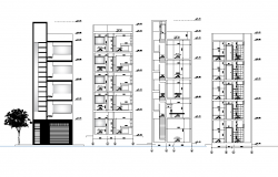 Apartment flat elevation and section high rise building plan detail dwg file