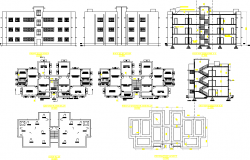 Apartment flat project detail dwg file