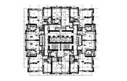 Apartment floor house layout plan details with lift lobby cad drawing details dwg file