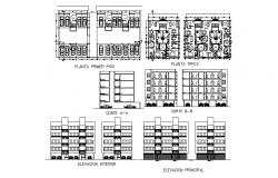 Apartment front and back elevation, section, plan and first floor plan cad drawing details dwg file