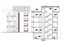 Apartment house plan detail dwg file.