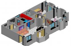 Apartment interior design plan detail dwg file