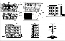 Apartment plan,elevation and sectional view dwg file