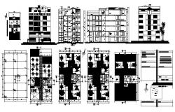 Apartment plan 13mtr x 22.5mtr with elevation and section in dwg file