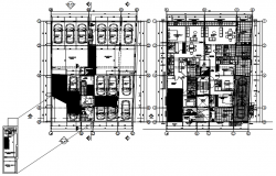 Apartment plan 17.30mtr x 21.10mtr with detail dimension in autocad