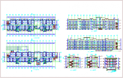 Apartment plan and elevation design view dwg file