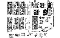 Apartment plan design with elevations in autocad
