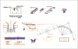 Aqueduct canal cross section and plan design detail dwg file