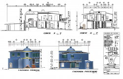Architectural Bungalow building elevation and section layout autocad file