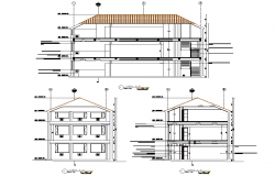 Architectural Design of Building 19.62mtr x 9.56mtr with section and elevation in autocad