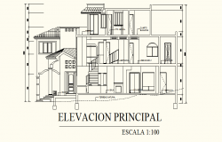Architectural Design of Bungalow 11.09mtr x 18.00mtr with Elevation and section in dwg file