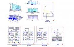 Architectural Plan of Multispeciality hospital with Section and elevation in dwg file