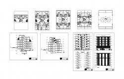 Architectural Plan of Multistorey Residential building with elevation and section in dwg file