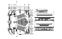 Architectural Plan of the auditorium with detail dimension in autocad