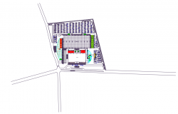 Architectural Roof view sopping center dwg file
