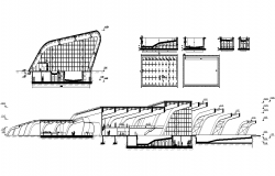 Architectural commerce building detail elevation 2d view dwg file