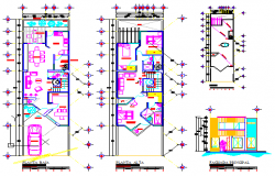 Architectural design and furniture layout of House design drawing
