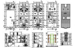 Architectural design of Hotel 8.00mtr x 20.00mtr with different elevation and section in autocad