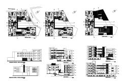 Architectural design of Residential building with different section and elevation in AutoCAD
