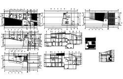 Architectural design of bungalow with section and elevation in AutoCAD