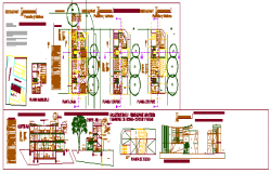 Architectural design of restaurant design drawing
