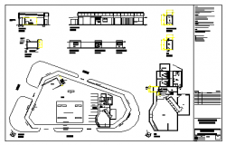 Architectural detail of auto desk and kiosk and filling station design drawing